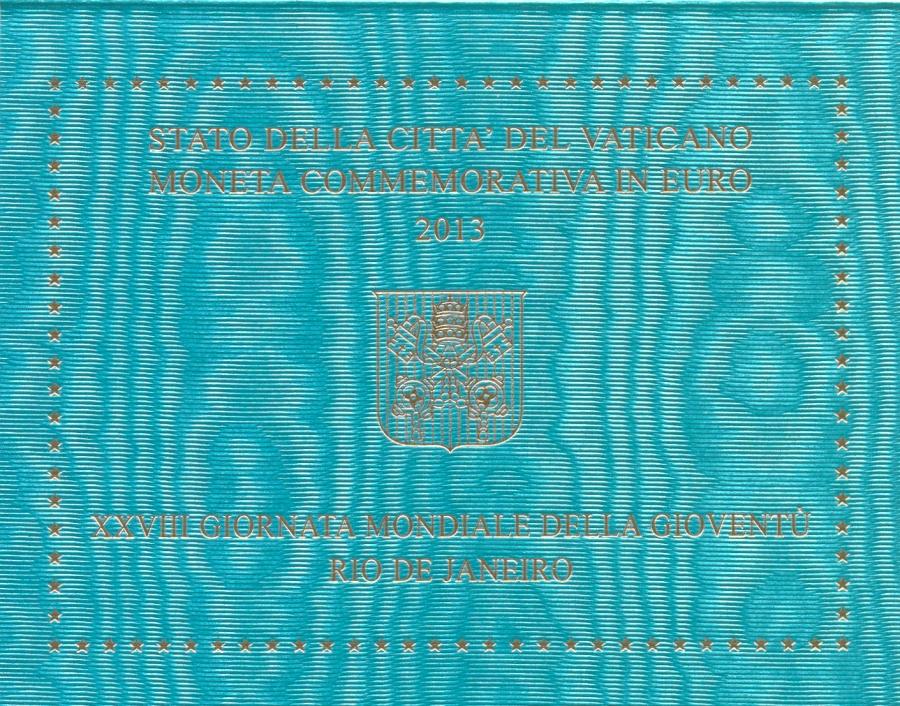 Монета номиналом 2 евро XXVIII Всемирный день молодёжи в Рио-де-Жанейро. Ватикан, 2013 годF30 BLUEМонета номиналом 2 евро XXVIII Всемирный день молодёжи в Рио-де-Жанейро. Ватикан, 2013 год Диаметр 2,5 см. Материал: Биметалл (наружное кольцо — Cu-Ni; внутренняя часть трехслойная — Cu-Zn-Ni;Ni;Cu-Zn-Ni) Сохранность UNC (без обращения) Тираж: 115000 шт. Размер буклета: 12 x 9.5 см
