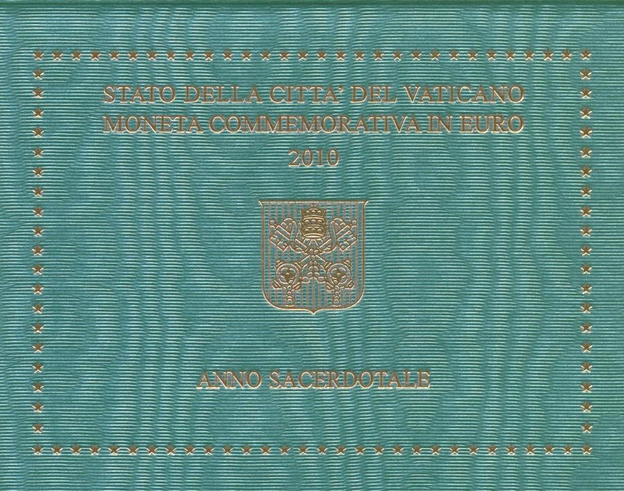 Монета номиналом 2 евро Год Священника. Ватикан, 2010 годF30 BLUEМонета номиналом 2 евро Год Священника. Ватикан, 2010 год Диаметр 2,5 см. Сохранность UNC (без обращения) Размер буклета: 12 x 9.5 см