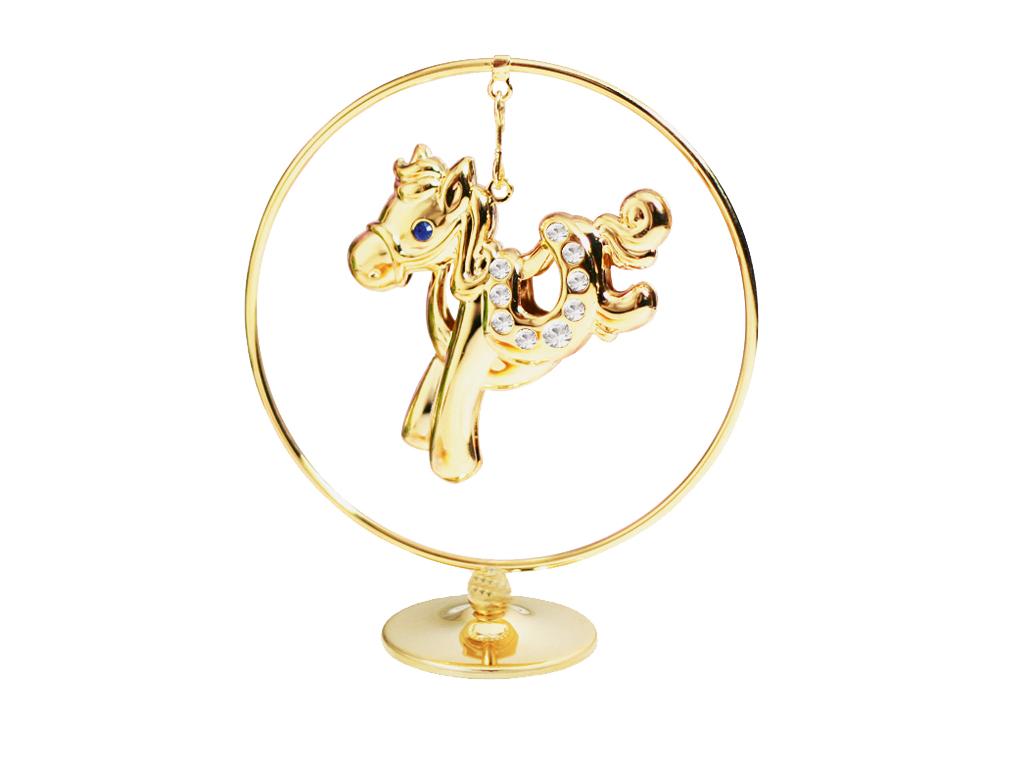 Фигурка декоративная Crystocraft Лошадка, цвет: золотистый. U0401-105-GC1U0401-105-GC1Декоративная фигурка Crystocraft Лошадка выполнена из высококачественной стали в виде лошадки, оформленной кристаллами Swarovski. Фигурка будет вас радовать и достойно украсит интерьер вашего дома или офиса. Вы можете поставить украшение в любом месте, где оно будет удачно смотреться и радовать глаз. Кроме того, эта фигурка - отличный вариант подарка для ваших близких и друзей.