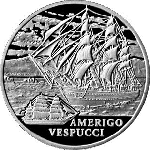 Монета номиналом 1 рубль Amerigo Vespucci. Беларусь, 2010 годF30 BLUEМонета номиналом 1 рубль Amerigo Vespucci. Беларусь, 2010 год Масса монеты: 13,16 г. Диаметр: 32 мм Качество: бриллиант-анциркулейтед Тираж: 4000 шт.