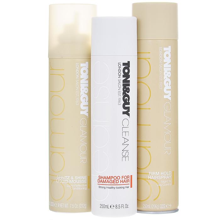 """TONI&GUY Подарочный набор для волос """"Glamour"""": шампунь, жидкий мусс, лак"""