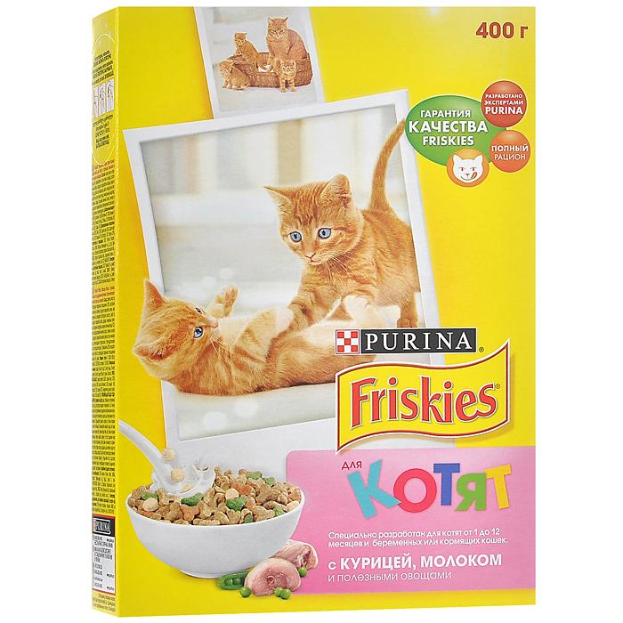 Корм сухой для котят Friskies, с курицей, молоком и полезными овощами, 400 г12152494Полнорационное и вкусное питание Friskies, изготовленное из ингредиентов высокого качества, предназначено для котят от 1 до 12 месяцев и беременных или кормящих кошек. Корм разработан экспертами Nestle Purina Petcare на базе 85-летнего опыта в области питания для животных. Ваш котенок, как и ребенок, нуждается в особой заботе, чтобы расти здоровым и счастливым. Дайте вашему котёнку правильный старт в жизни. Friskies для котят - полнорационное и сбалансированное питание, приготовленное из курицы с высоким содержанием злаков. Специальный рецепт обеспечивает вашего любимца всеми необходимыми питательными веществами, витаминами и минеральными веществами, которые ему необходимы для успешного перехода от молока матери к взрослой пище. Вещества, содержащиеся в корме: - Таурин важен для здорового сердца и хорошего зрения. - Белок необходим для здорового роста и развития. - Витамин Е для поддержания сильного иммунитета. - Необходимые минеральные...
