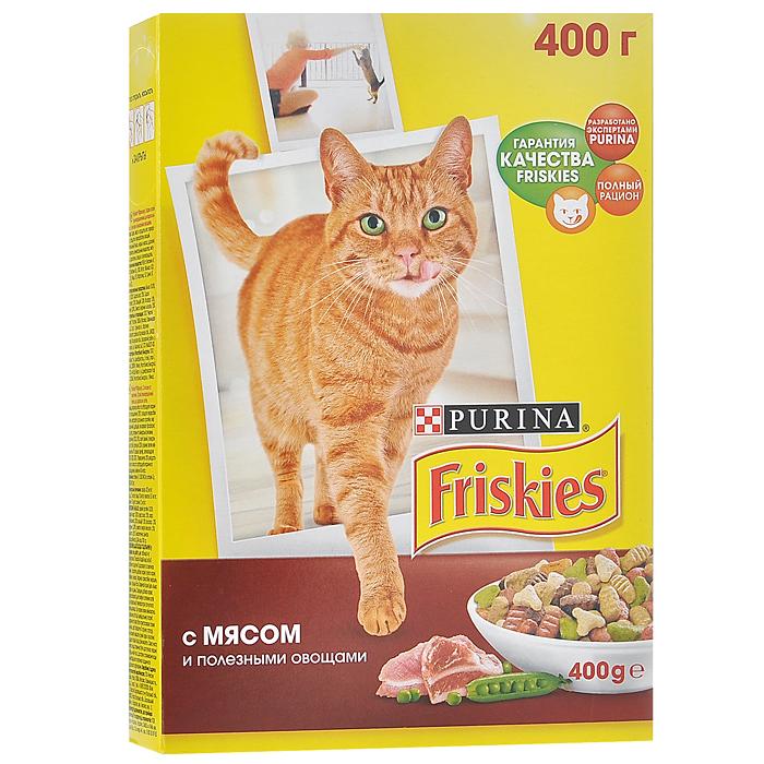 Корм сухой для кошек Friskies, с мясом и полезными овощами, 400 г12152613Сбалансированное, полнорационное и вкусное питание для взрослых кошек Friskies изготовлено с использованием ингредиентов высокого качества. Корм разработан экспертами Nestle Purina Petcare на базе 85-летнего опыта в области питания для животных. Уникальный характер вашего питомца создаёт особенную атмосферу вашего дома, добавляя радость в вашу жизнь. Ему необходимо полнорационное и сбалансированное питание с содержанием витаминов и минеральных веществ, что поможет поддерживать здоровье и жизненную энергию вашей кошки. Корм не содержит усилителей вкуса. Витамины и минеральные вещества, содержащиеся в корме: Белок способствует укреплению мышц и дает энергию; Кальций, фосфор и витамин D важны для поддержания здоровья костей и зубов; Омега 6 жирные кислоты помогают поддерживать шерсть здоровой и блестящей; Таурин важен для хорошего зрения и здорового сердца. Состав: злаки, мясо и продукты его переработки, продукты переработки овощей,...