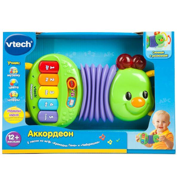 Развивающая игрушка Vtech Аккордеон80-118626Развивающая игрушка Vtech Аккордеон обязательно понравится вашему малышу и предоставит ему массу возможностей для разнообразных игр! Игрушка выполнена из безопасного пластика ярких цветов в виде аккордеона, стилизованного под улитку, и оснащена световыми и звуковыми эффектами. Аккордеон оснащен двумя ручками и растягивающимся мехом из мягкого пластика. Для правой ручки ребенка создана игровая платформа с переключателем и пятью кнопками-клавишами разных цветов, каждая из которых оформлена цифрами от 1 до 5 и названиями нот до, ре, ми, фа и соль. У игрушки есть два режима работы: музыкальный и обучающий, во время которых усики улитки начинают мигать. При включении музыкального режима малыш сможет послушать фрагмент песенки крокодила Гены Голубой вагон и нажимать на кнопки, знакомясь со звуками нот. Выбрав обучающий режим, ребенок услышит фрагмент песенки крокодила Гены День рожденья, а нажимая на кнопки, воспроизведет название цвета и звук данной кнопки и цифры от одного до...