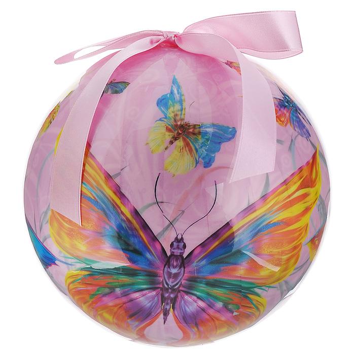 Елочное украшение Шар. Бабочки, диаметр 20 см. 2033220332Оригинальное подвесное украшение Шар. Бабочки прекрасно подойдет для праздничного декора дома и новогодней ели. Украшение, выполненное из пластмассы, оформлено красочным изображением разноцветных бабочек. Благодаря плотному корпусу изделие никогда не разобьется, поэтому вы можете быть уверены, что оно прослужит вам долгие годы. С помощью атласной ленточки розового цвета украшение можно повесить в любое понравившееся место. Елочная игрушка - символ Нового года. Она несет в себе волшебство и красоту праздника. Создайте в своем доме атмосферу веселья и радости, украшая новогоднюю елку нарядными игрушками, которые будут из года в год накапливать теплоту воспоминаний.