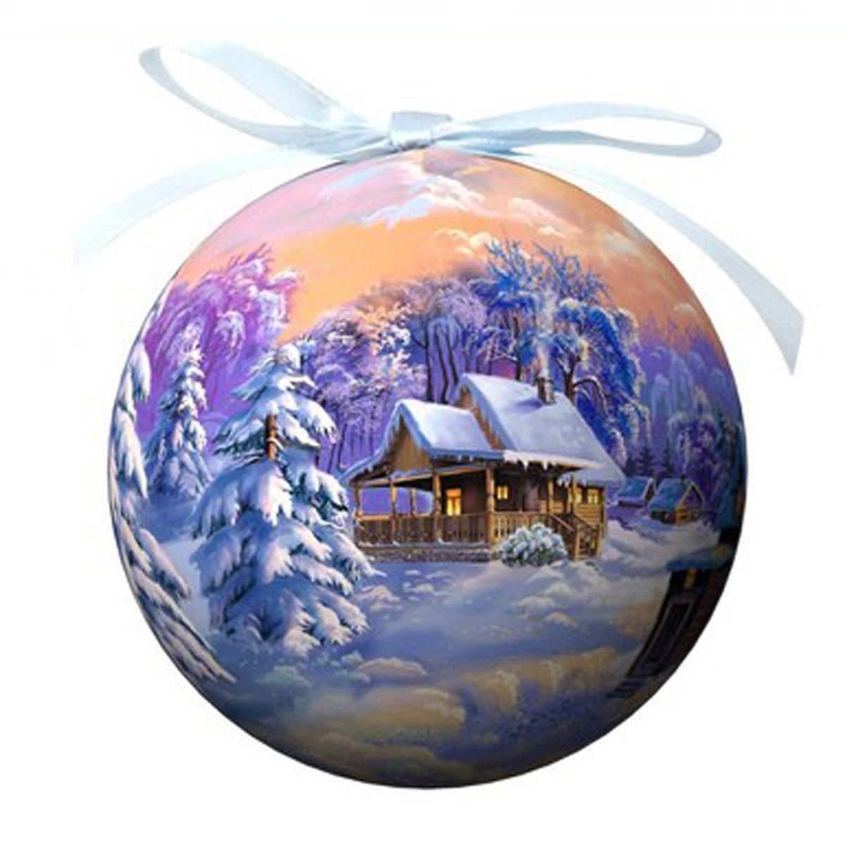 Елочное украшение Шар. Зимний пейзаж, диаметр 10 см. 2031820318Оригинальное подвесное украшение Шар. Зимний пейзаж прекрасно подойдет для праздничного декора дома и новогодней ели. Шар, выполненный из пластмассы, оформлен красочным изображением зимней природы. Благодаря плотному корпусу изделие никогда не разобьется, поэтому вы можете быть уверены, что оно прослужит вам долгие годы. С помощью атласной ленточки фиолетового цвета украшение можно повесить на новогоднюю елку. Елочная игрушка - символ Нового года. Она несет в себе волшебство и красоту праздника. Создайте в своем доме атмосферу веселья и радости, украшая новогоднюю елку нарядными игрушками, которые будут из года в год накапливать теплоту воспоминаний.