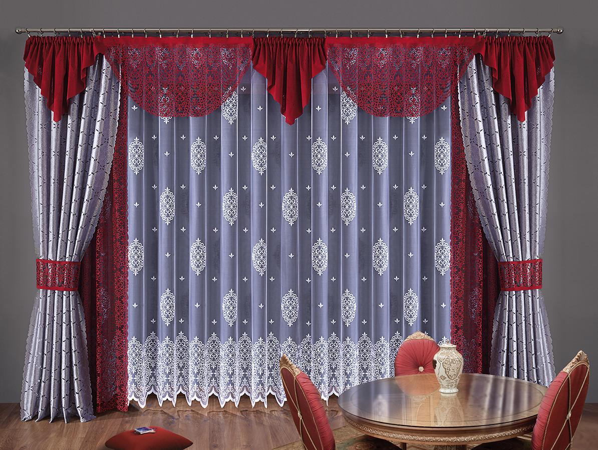 Комплект штор Toscania, на ленте, цвет: белый, стальной, бордо, высота 250 смW006 сталь/бордоКомплект штор Toscania великолепно украсит любое окно. Комплект состоит из двух штор стального цвета, двух штор бордового цвета, белого тюля и бордового ламбрекена. Для более изящного расположения штор предусмотрены подхваты. Изделия выполнены из полиэстера с кружевными узорами. Тонкое плетение, оригинальный дизайн и контрастная цветовая гамма привлекут к себе внимание и органично впишутся в интерьер комнаты. Все предметы комплекта оснащены шторной лентой для собирания в сборки. Характеристики: Материал: 100% полиэстер. Цвет: белый, стальной, бордо. Размер упаковки: 25 см х 35 см х 15 см. Артикул: W006. В комплект входит: Штора - 4 шт. Размер (ШхВ): 140 см х 250 см. Тюль - 1 шт. Размер (ШхВ): 500 см х 250 см. Ламбрекен - 1 шт. Размер (ШхВ): 630 см х 60 см. Подхват - 2 шт. Фирма Wisan на польском рынке существует уже более пятидесяти лет и является одной из лучших польских фабрик по производству штор и тканей....