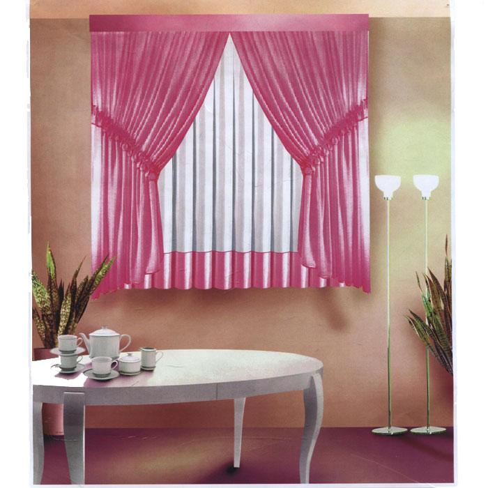 Комплект штор для кухни Zlata Korunka, на ленте, цвет: розовый, белый, высота 180 см. Б089Б089 розовыйКомплект штор для кухни Zlata Korunka состоит из двух штор розового цвета и одного тюля белого цвета с вставкой розового цвета по нижнему краю. Шторы и тюль изготовлены из легкого воздушного полиэстера. Шторы в серединной части по диагонали снабжены шторной лентой для присборивания, с помощью данной ленты шторы будут изящно и аккуратно подобраны по бокам. Края штор и тюля обработаны атласной тесьмой розового цвета. Нежная воздушная текстура, оригинальный дизайн и светлая цветовая гамма привлекут к себе внимание и органично впишутся в интерьер кухни. В шторы и тюль вшита шторная лента. УВАЖАЕМЫЕ КЛИЕНТЫ! Обращаем ваше внимание на цвет изделия. Цветовой вариант комплекта, данного в интерьере, служит для визуального восприятия товара. Цветовая гамма данного комплекта представлена на отдельном изображении фрагментом ткани. Характеристики: Материал: 100% полиэстер. Цвет: розовый, белый. Размер упаковки: 34 см х 27 см х 3 см. ...