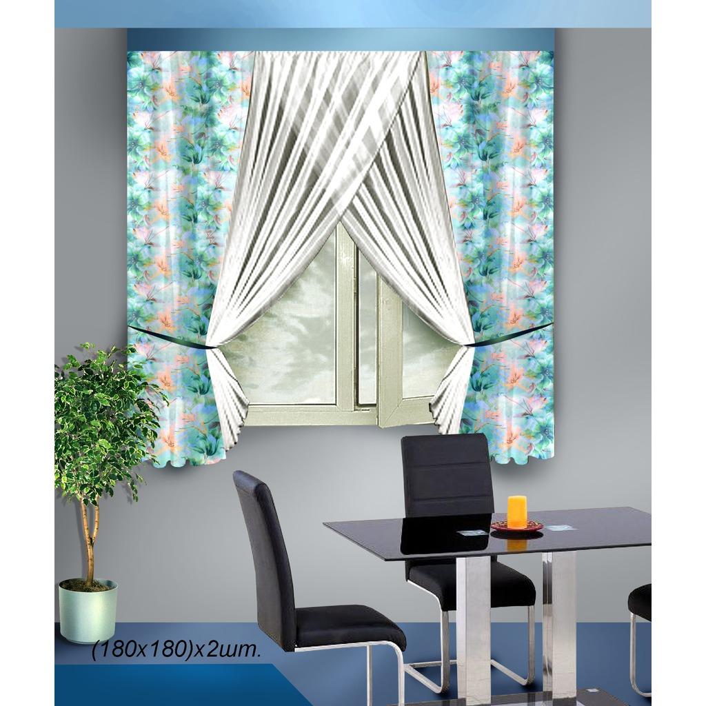 Комплект штор для кухни Zlata Korunka, на ленте, цвет: белый, голубой, высота 180 см. Б090Б090 голубойКомплект штор для кухни Zlata Korunka состоит из двух штор. Шторы изготовлены из легкого воздушного полиэстера и представляет собой два полотна, сшитых вместе. Полотно шторы выполнено из комбинации белой полупрозрачной вуали и голубой вуали с нежным цветочным рисунком. Края шторы оформлены атласной тесьмой голубого цвета. Для изящного присборивания штор имеются вшитые подхваты в виде 4 атласных тесемок. Нежная воздушная текстура, оригинальный дизайн и светлая цветовая гамма привлекут к себе внимание и органично впишутся в интерьер кухни. В штору вшита шторная лента.