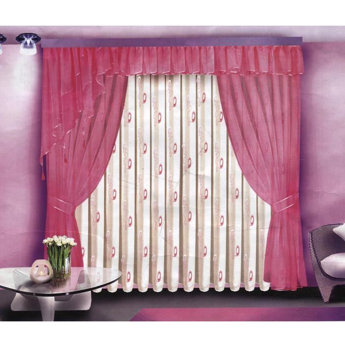 Комплект штор Zlata Korunka, на ленте, цвет: розовый, высота 250 см. Б088Б088 розовыйКомплект штор Zlata Korunka, выполненный из полиэстера, великолепно украсит любое окно. Комплект состоит из двух штор, тюля, ламбрекена и двух подхватов. Шторы, фигурный ламбрекен и подхваты выполнены из вуали розового цвета. Белый вуалевый тюль декорирован роскошной вышивкой из белой и розовой тесьмы. Воздушная текстура, оригинальный дизайн и нежная цветовая гамма привлекут к себе внимание и органично впишутся в интерьер комнаты. Все предметы комплекта - на шторной ленте для собирания в сборки.