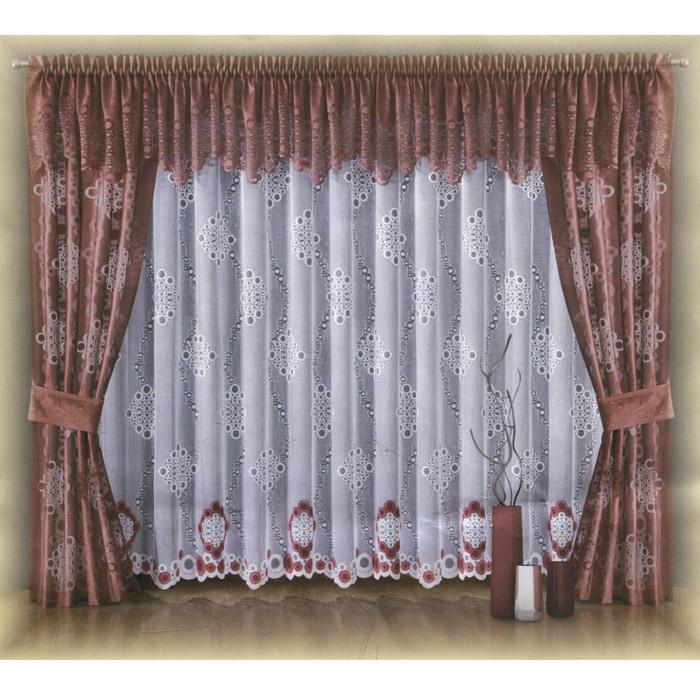 Комплект штор Wisan Waleria, на ленте, цвет: бордовый, высота 250 см5999 бордоРоскошный комплект штор Wisan Waleria, выполненный из полиэстера, великолепно украсит любое окно. Комплект состоит из двух штор, тюля, ламбрекена и двух подхватов. Шторы, ламбрекен и подхваты выполнены из легкой полупрозрачной ткани бордового цвета с абстрактным узором. Белый тюль декорирован белым и бордовым абстрактным рисунком. Тонкое плетение, оригинальный дизайн и нежная цветовая гамма привлекут к себе внимание и органично впишутся в интерьер комнаты. Все предметы комплекта - на шторной ленте для собирания в сборки. Характеристики: Материал: 100% полиэстер. Цвет: бордовый. Размер упаковки: 37 см х 30 см х 8 см. Артикул: W001. В комплект входят: Штора - 2 шт. Размер (Ш х В): 90 см х 250 см. Тюль - 1 шт. Размер (Ш х В): 400 см х 250 см. Ламбрекен - 1 шт. Размер (Ш х В): 450 см х 60 см. Подхват - 2 шт. Размер (Ш х Д): 15 см х 70 см. Фирма Wisan на польском рынке существует уже более пятидесяти лет и является...