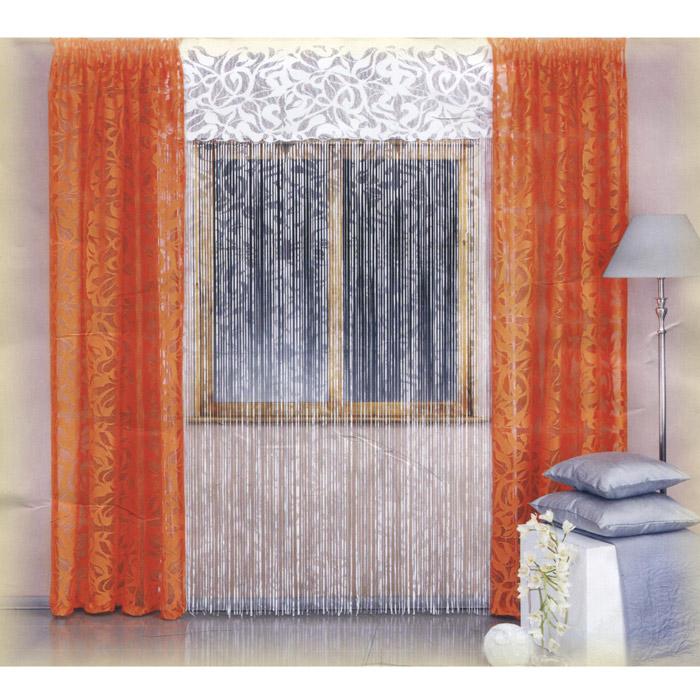 Комплект штор Wisan Galina, на ленте, цвет: оранжевый, белый, высота 250 смW002 оранжево/белыйРоскошный комплект штор Wisan Galina, выполненный из полиэстера, великолепно украсит любое окно. Комплект состоит из двух штор и тюля. Шторы выполнены из ткани оранжевого цвета с ажурным рисунком. Тюль белого цвета представляет собой бахрому, которая крепится к небольшому основанию. Тюль декорирован витиеватыми узорами. Нежная воздушная текстура, оригинальный дизайн и нежная цветовая гамма привлекут к себе внимание и органично впишутся в интерьер комнаты. Все предметы комплекта - на шторной ленте для собирания в сборки.