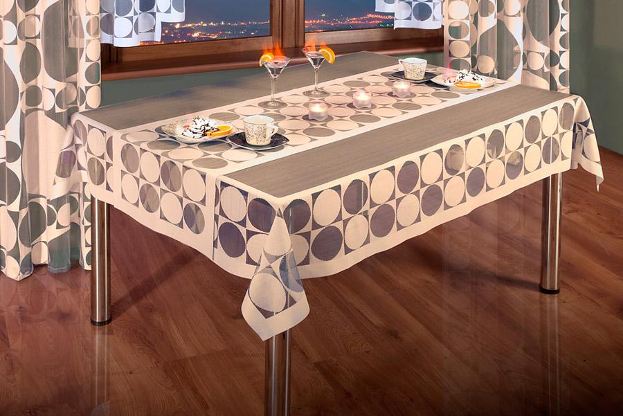 Набор Wisan: скатерть, дорожка, цвет: капучино. 33853385 капучиноНабор Wisan состоит из скатерти и дорожки, выполненных из полиэстера цвета капучино. Скатерть прямоугольной формы изготовлена из сетчатого полупрозрачного материала с принтом в виде кругов. Дорожка прямоугольной формы также выполнена из ажурного материала. Дорожка пригодится для декорирования стола. Кроме этого, благодаря такой дорожке вы защитите поверхность стола от воды, пятен и механических воздействий, а также создадите атмосферу уюта и домашнего тепла в интерьере вашей кухни или комнаты. Набор Wisan органично впишется в интерьер любого помещения, а оригинальный дизайн удовлетворит даже самый изысканный вкус. Характеристики: Материал: 100% полиэстер. Размер скатерти: 130 см х 180 см. Размер дорожки: 45 см х 180 см. Цвет: капучино. Производитель: Польша. Артикул: 3385.