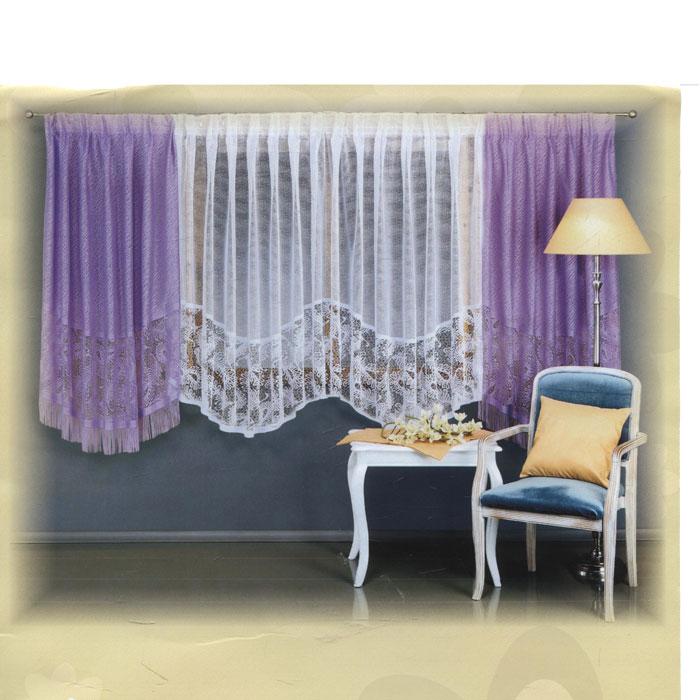 Комплект штор для кухни Wisan, на ленте, цвет: белый, сиреневый, высота 160 см. 59985998 сиреневыйКомплект штор Wisan, изготовленный из легкого полиэстера, станет великолепным украшением кухонного окна. В набор входит 2 шторы сиреневого цвета и тюль белого цвета. Шторы и тюль выполнены из ажурного материала, украшены вышивкой по нижнему краю, шторы декорированы бахромой. Все элементы комплекта на шторной ленте для собирания в сборки. Оригинальный дизайн и приятная цветовая гамма привлекут к себе внимание и органично впишутся в интерьер. Характеристики: Материал: 100% полиэстер. Цвет: белый, сиреневый. Размер упаковки: 38 см х 28 см х 8 см. Производитель: Польша. Изготовитель: Россия. Артикул: 5998. В комплект входит: Штора - 2 шт. Размер (Ш х В): 150 см х 160 см. Тюль - 1 шт. Размер (Ш х В): 300 см х 150 см.