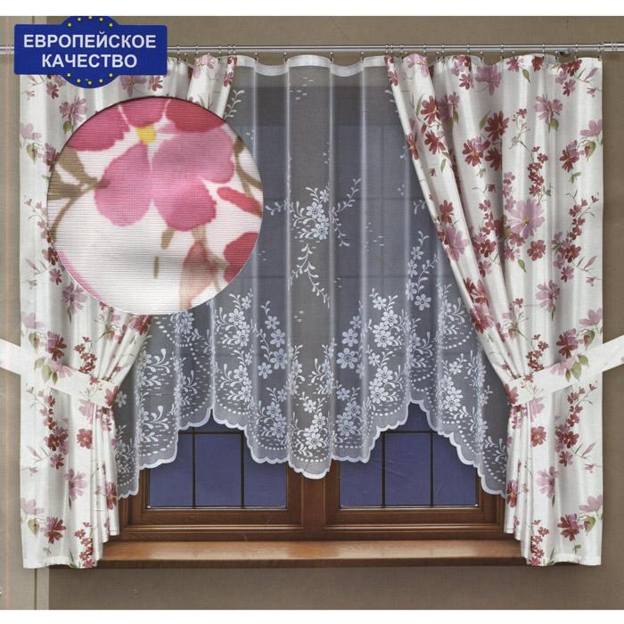 Комплект штор для кухни Haft, на ленте, цвет: белый, высота 170 см. 202710/170202710/170 белыйКомплект штор Haft, изготовленный из полиэстера, органично впишется в интерьер кухонной комнаты. Комплект состоит из двух штор, тюля и двух подхватов. Шторы и подхваты выполнены из плотной белой ткани с нежным цветочным рисунком. Белый полупрозрачный тюль декорирован цветочным узором. Тонкое плетение, оригинальный дизайн и нежная цветовая гамма привлекут к себе внимание и органично впишутся в интерьер комнаты. Все предметы комплекта - на шторной ленте для собирания в сборки.