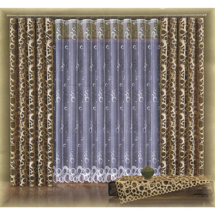 Комплект штор Wisan Stawa, на ленте, цвет: капучино, высота 250 смW016 капучиноКомплект штор Wisan Stawa, выполненный из полиэстера, великолепно украсит любое окно. Комплект состоит из двух штор и тюля. Шторы выполнены из легкой полупрозрачной ткани цвета капучино с оригинальным рисунком. Тюль выполнен из белой полупрозрачной ткани с оригинальным рисунком. Тонкое плетение, оригинальный дизайн и нежная цветовая гамма привлекут к себе внимание и органично впишутся в интерьер комнаты. Все предметы комплекта - на шторной ленте для собирания в сборки.
