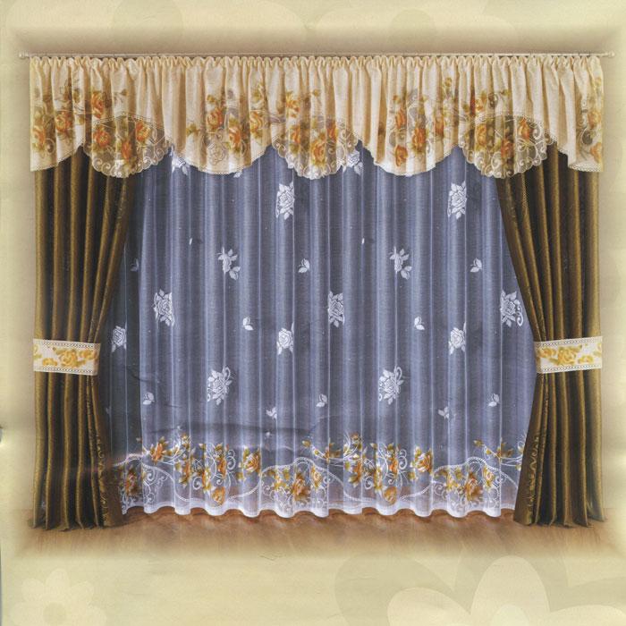 Комплект штор Wisan, на ленте, цвет: бежевый, оливковый, белый, высота 250 см. W007W007 т.оливкаКомплект штор Wisan, изготовленный из легкого сетчатого полиэстера, станет великолепным украшением любого окна. В набор входит 2 шторы оливкового цвета, ламбрекен бежевого цвета с цветочным рисунком, тюль белого цвета и два подхвата. Тюль украшен цветочным рисунком, по нижнему краю данный рисунок - бежевого цвета. Для изящного присборивания штор в комплект входят 2 подхвата в тон ламбрекена. Все элементы комплекта на шторной ленте для собирания в сборки. Оригинальный дизайн и приятная цветовая гамма привлекут к себе внимание и органично впишутся в интерьер. Характеристики: Материал: 100% полиэстер. Цвет: бежевый, оливковый, белый. Размер упаковки: 40 см х 30 см х 10 см. Артикул: W007. В комплект входит: Штора - 2 шт. Размер (Ш х В): 140 см х 250 см. Тюль - 1 шт. Размер (Ш х В): 450 см х 250 см. Ламбрекен - 1 шт. Размер (Ш х В): 500 см х 60 см. Похват - 2 шт. Размер (Ш х Д): 17,5 см х 80 см.