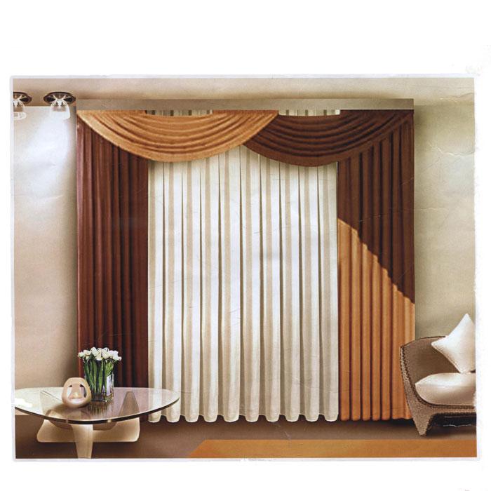 Комплект штор Zlata Korunka, на ленте, цвет: коричневый, бежевый, белый, высота 250 см. Б084Б084 коричневыйКомплект штор Zlata Korunka, изготовленный из полиэстера, станет великолепным украшением любого окна. В набор входит 2 шторы и ламбрекен коричнево-бежевого цвета, тюль белого цвета. Шторы и ламбрекен выполнены из плотного атласного материала. Тюль изготовлен из легкой полупрозрачной вуали белого цвета. Все элементы комплекта на шторной ленте для собирания в сборки. Оригинальный дизайн и приятная цветовая гамма привлекут к себе внимание и органично впишутся в интерьер.