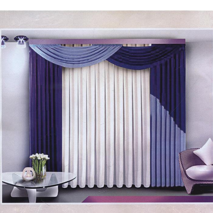 Комплект штор Zlata Korunka, на ленте, цвет: синий, голубой, белый, высота 250 см. Б084Б084 синийКомплект штор Zlata Korunka, изготовленный из полиэстера, станет великолепным украшением любого окна. В набор входит 2 шторы и ламбрекен сине-голубого цвета, тюль белого цвета. Шторы и ламбрекен выполнены из плотного атласного материала. Тюль изготовлен из легкой полупрозрачной вуали белого цвета. Все элементы комплекта на шторной ленте для собирания в сборки. Оригинальный дизайн и приятная цветовая гамма привлекут к себе внимание и органично впишутся в интерьер. Характеристики: Материал: 100% полиэстер. Цвет: синий, голубой, белый. Размер упаковки: 42 см х 30 см х 6 см. Артикул: Б084. В комплект входит: Штора - 2 шт. Размер (Ш х В): 160 см х 250 см. Тюль - 1 шт. Размер (Ш х В): 600 см х 250 см. Ламбрекен - 1 шт. Размер (Ш х В): 300 см х 50 см.