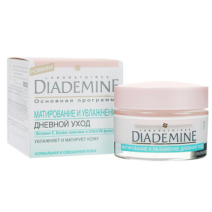 Diademine Крем дневной Матирование и увлажнение, для нормальной и смешанной кожи, 50 мл9430750Формула крема обеспечивает увлажнение и матирующий эффект для равномерного цвета лица без нежелательного блеска. Балансирующий комплекс матирует жирные участки кожи, помогает им восстановить естественный баланс. Формула с витамином Е проникает в глубокие слои кожи, обеспечивает увлажнение. UVA/UVB фильтры защищают кожу от УФ-лучей.