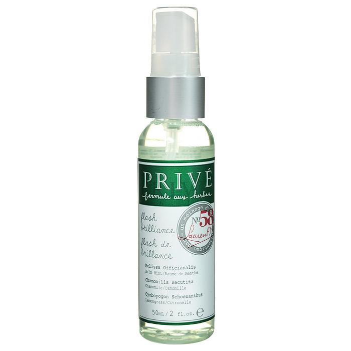 Prive Спрей для моментального придания блеска волосам, 50 млPRV4920001Тонко распыляемый, ультра-легкий спрей Prive создает мягкую текстуру, разглаживает волосы. Защищает от УФ-лучей, увлажняет и придает здоровый блеск. При использовании горячих инструментов помогает добиться глубокого объёмного блеска. Справляется с нежелательной пушистостью волос. Экстракт бальзамической мяты, ромашки, подсолнечника и смесь трав моментально придают бриллиантовый блеск волосам любого типа.