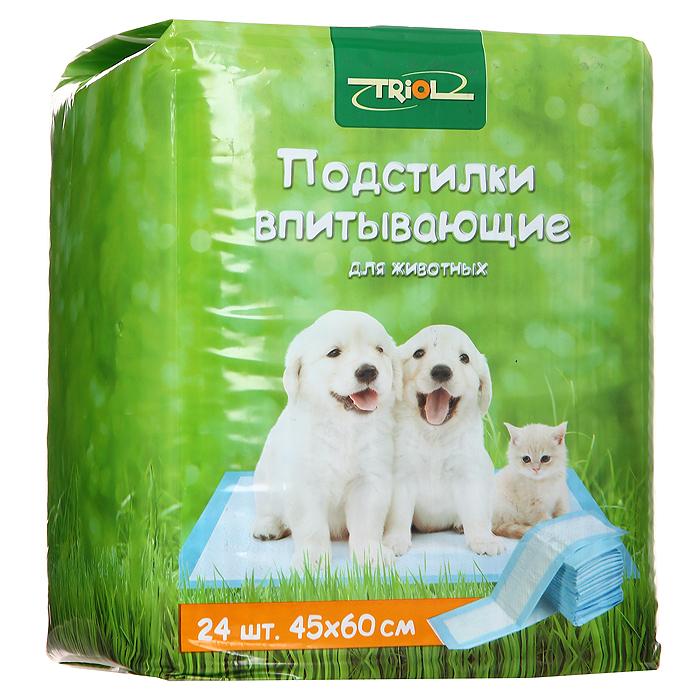Подстилки для животных впитывающие Triol, для туалета, 45 см х 60 см, 24 штМт-151Подстилки Triol, изготовленные из нежного гипоаллергенного нетканого материала, великолепно подходят для ухода за животными. Полиэтиленовое основание исключает протекание жидкости. Впитывающий слой надежно удерживает влагу и запах. С помощью таких подстилок вы сможете легко приучить своего питомца ходить в туалет в одно место. Также подстилки могут стать отличной заменой наполнителям для туалета.Характеристики: Материал: нетканое волокно, целлюлоза. Размер: 45 см х 60 см. Количество: 24 шт. Артикул: Мт-151.