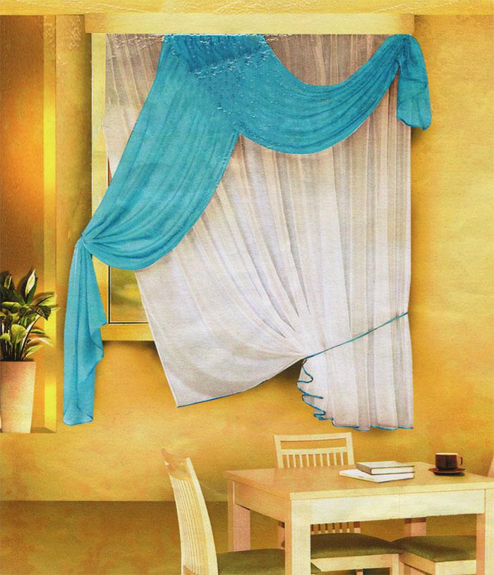 Комплект штор для кухни Zlata Korunka, на ленте, цвет: белый, голубой, высота 170 см. Б066Б066 голубойКомплект штор Zlata Korunka, изготовленный из легкого полиэстера, станет великолепным украшением кухонного окна. В набор входит тюль белого цвета и ламбрекен голубого цвета. Для более изящного расположения тюля на окне прилагается подхват. Все элементы комплекта на шторной ленте для собирания в сборки. Оригинальный дизайн и приятная цветовая гамма привлекут к себе внимание и органично впишутся в интерьер.