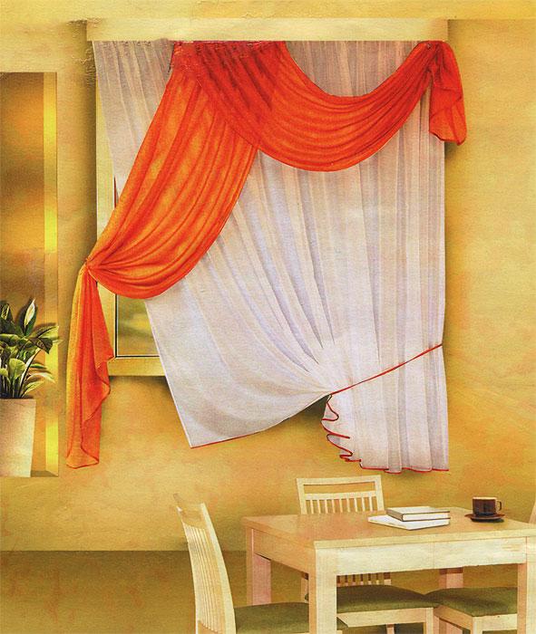 Комплект штор для кухни Zlata Korunka, на ленте, цвет: белый, оранжевый, высота 170 см. Б066Б066 оранжевыйКомплект штор Zlata Korunka, изготовленные из легкого полиэстера, станут великолепным украшением кухонного окна. В набор входит тюль белого цвета и ламбрекен оранжевого цвета. Для более изящного расположения тюля на окне прилагается подхват. Все элементы комплекта на шторной ленте для собирания в сборки. Оригинальный дизайн и приятная цветовая гамма привлекут к себе внимание и органично впишутся в интерьер. Характеристики: Материал: 100% полиэстер. Цвет: белый, оранжевый. Размер упаковки: 34 см х 28 см х 3 см. Производитель: Польша. Изготовитель: Россия. Артикул: Б066. В комплект входит: Тюль - 1 шт. Размер (Ш х В): 290 см х 170 см. Ламбрекен - 1 шт. Размер (Ш х В): 90 см х 170 см.