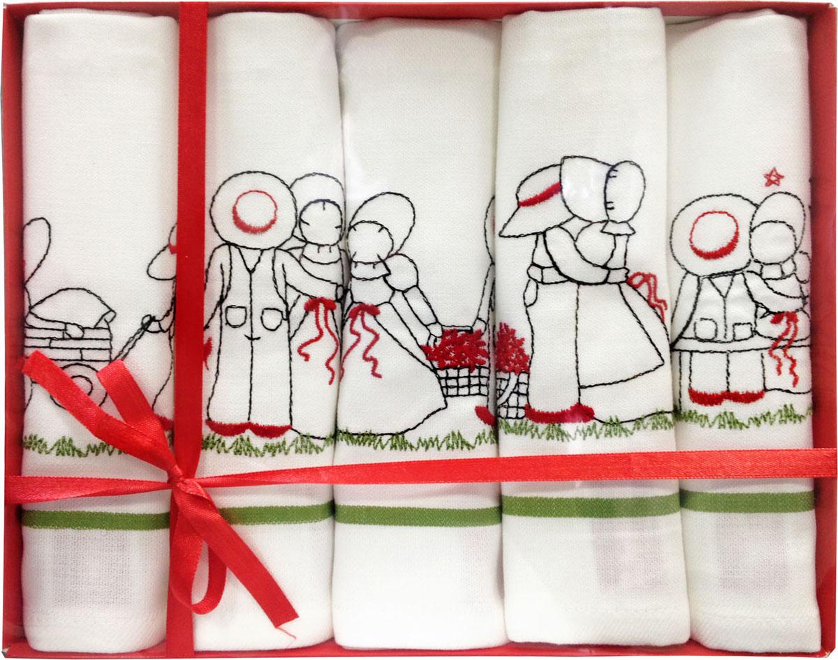 Набор полотенец Bonita Love Story, цвет: белый, 60 см х 40 см, 5 шт2001311955Набор Bonita Love Story состоит из пяти гладкотканых полотенец, выполненных из хлопка белого цвета. Все предметы набора оформлены оригинальной вышивкой. Такой набор украсит интерьер и будет уместен на любой кухне. Прекрасно подойдет в качестве подарка, который окажется не только приятным, но и полезным в хозяйстве. Набор упакован в подарочную коробку, украшенную атласной ленточкой красного цвета. Характеристики: Материал: 100% хлопок. Комплектация: 5 шт. Цвет: белый. Размер полотенца: 60 см х 40 см. Размер упаковки: 28,5 см х 22,5 см х 4 см. Артикул: 2001311955.