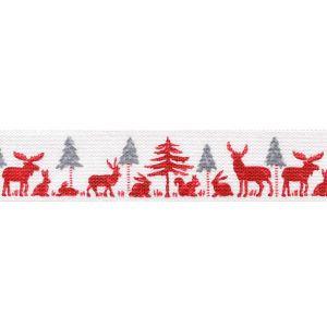 Тесьма с печатным рисунком Лес, цвет: белый, красный, 1 м х 25 мм. 35116-0135116-01Тесьма с печатным рисунком Лес выполнена из высококачественного 100% полиэстера. На ленте изображены животные в лесу. Рисунок выполнен из 100% полиэстера. Тесьма Acufactum ткется на старинных станках с использованием перфокарт, которые изготавливаются для каждого вида тесьмы с тончайшей проработкой самых мелких деталей. Это достаточно долгий и трудоемкий процесс, но результат того стоит! Тесьма наивысшего уровня качества, которая очень практична в использовании т.к. выдерживает стирку при температуре 60 градусов. А изобилие дизайнов просто потрясает!