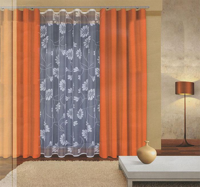 Комплект штор Haft, на ленте, цвет: оранжевый, белый, высота 270 см. 202960/270202960/270 оранжевыйКомплект штор Haft, изготовленный из полиэстера, станет великолепным украшением любого окна. В набор входит 2 шторы оранжевого цвета и тюль белого цвета. Воздушный тюль украшен ажурным цветочным рисунком, шторы выполнены из более плотной по фактуре ткани. Все элементы комплекта на шторной ленте для собирания в сборки. Оригинальный дизайн и приятная цветовая гамма привлекут к себе внимание и органично впишутся в интерьер.