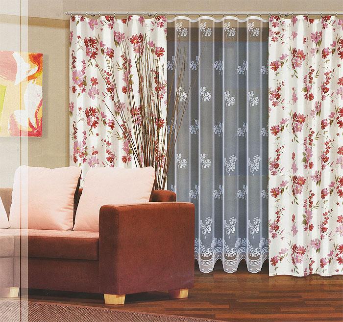 Комплект штор Haft, на ленте, цвет: белый, розовый, высота 270 см. 202770/270202770/270Комплект штор Haft, изготовленный из полиэстера, станет великолепным украшением любого окна. В комплект входят две шторы и тюль. Полотно штор выполнено из плотной ткани белого цвета с нежным цветочным рисунком. Тюль выполнен из полупрозрачной ткани белого цвета с травянистым узором. Тонкое плетение, оригинальный дизайн и приятная цветовая гамма привлекут к себе внимание и органично впишутся в интерьер. Все элементы комплекта на шторной ленте для собирания в сборки.