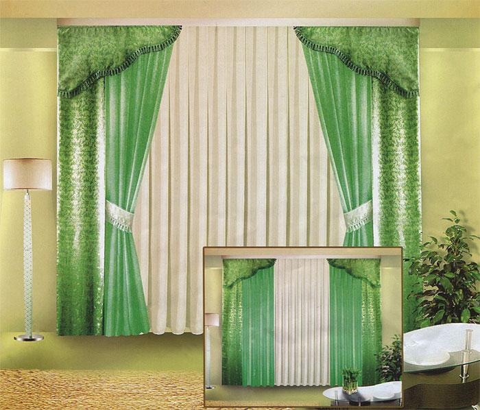 Комплект штор Zlata Korunka, на ленте, цвет: белый, зеленый, высота 250 смБ015 зеленыйКомплект штор Zlata Korunka великолепно украсит любое окно. Комплект состоит из четырех штор, тюля и двух ламбрекенов. Для более изящного расположения штор предусмотрены подхваты. Тюль и две шторы выполнены из вуалевой ткани, две другие шторы и ламбрекены изготовлены из жаккарда зеленого цвета с изящным рисунком. Ламбрекены и подхваты оформлены бахромой. Оригинальный дизайн и контрастная цветовая гамма привлекут к себе внимание и органично впишутся в интерьер комнаты. Все предметы комплекта оснащены шторной лентой для собирания в сборки.