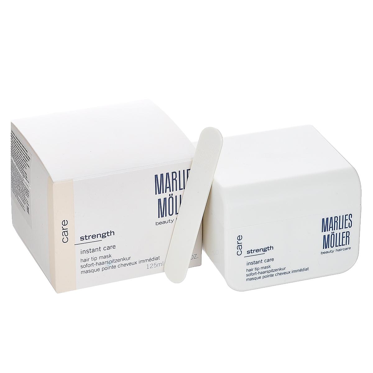 Marlies Moller Маска Strength, мгновенного действия, для кончиков волос, 125 мл28MMsМаска Marlies Moller Strength содержит лечебный комплекс с моментальным эффектом. Укрепляет волосы, придает им упругость и эластичность. Применение : нанесите небольшое количество маски на сухие волосы. Сделайте укладку. Или оставьте на 10 минут, после смойте остатки средства с помощью шампуня.