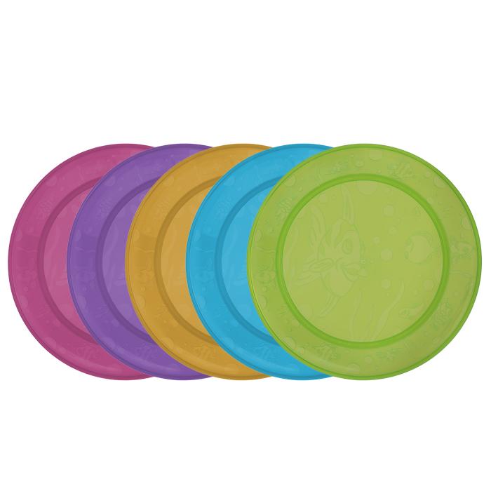 Набор детских тарелок Munchkin, 5 шт11390Детские тарелки Munchkin, выполненные из безопасного пластика (не содержит бисфенол А), прекрасно подойдут для кормления малыша и самостоятельного приема им пищи. В набор входят пять плоских тарелочек разных цветов. Они украшены дизайнерским рисунком в виде рыб, чтобы добавить удовольствия в любое блюдо, которые вы готовите. Кредо Munchkin, американской компании с 20-летней историей: избавить мир от надоевших и прозаических товаров, искать умные инновационные решения, которые превращает обыденные задачи в опыт, приносящий удовольствие. Понимая, что наибольшее значение в быту имеют именно мелочи, компания создает уникальные товары, которые помогают поддерживать порядок, организовывать пространство, облегчают уход за детьми - недаром компания имеет уже более 140 патентов и изобретений, используемых в создании ее неповторимой и оригинальной продукции. Munchkin делает жизнь родителей легче! Характеристики: Рекомендуемый возраст: от 6 месяцев. Размер...