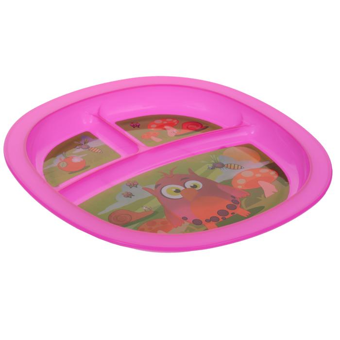 Munchkin Тарелка детская с разделителями цвет розовый
