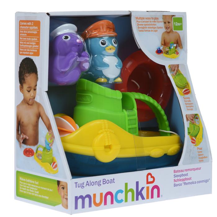 Игровой набор для ванны Munchkin Веселая лодочка11422Игровой набор для ванны Munchkin Веселая лодочка привлечет внимание ребенка и превратит купание в веселую игру. Набор включает в себя лодку, плот, фигурки морского котика и пингвина. Малыш сможет катать фигурки на лодочке и плоту или играть отдельно. На носу катера расположена вертушка, на корпусе имеются отверстия, через которые будет выливаться вода. Игрушка снабжена ручкой, за которую малыш сможет ее брать, зачерпывать и выливать воду. Плот можно прикрепить к лодке, и он будет его буксировать. Если в фигурки морского котика и пингвина сначала набрать воду, а потом нажать на них, то у них изо рта брызнет тонкая струйка воды, что позабавит малыша. Элементы набора выполнены из безопасных материалов и прекрасно держатся на воде. Набор для ванны Munchkin Веселая лодочка способствует развитию воображения, цветового восприятия, тактильных ощущений и мелкой моторики рук. Характеристики: Материал: пластик, ПВХ пластизоль. Размер лодки: 18 см х...