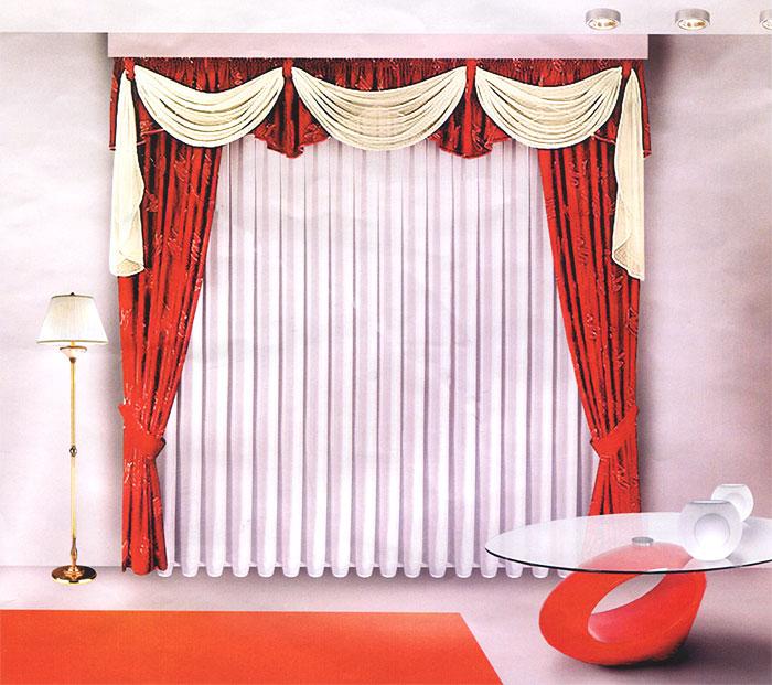 Комплект штор Zlata Korunka, на ленте, цвет: белый, бордо, высота 270 смБ027 бордоКомплект штор Zlata Korunka великолепно украсит любое окно. Комплект состоит из двух портьер, тюля и ламбрекена. Для более изящного расположения штор предусмотрены подхваты. Тюль выполнен из вуалевой ткани, портьеры изготовлены из жаккардовой ткани с изящным узором. Оригинальный дизайн и контрастная цветовая гамма привлекут к себе внимание и органично впишутся в интерьер комнаты. Все предметы комплекта оснащены шторной лентой для собирания в сборки.
