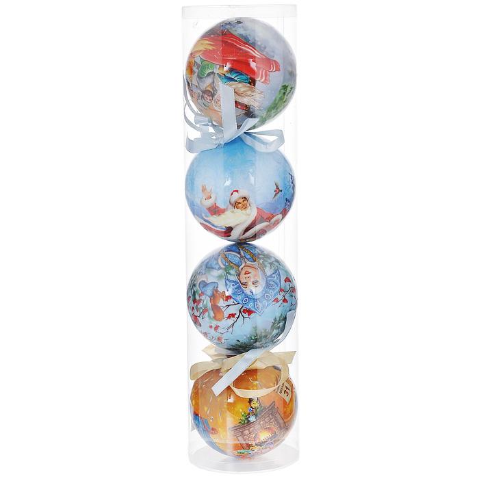 Набор елочных украшений Новогодний, диаметр 9 см, 4 шт. 2015120151Набор Новогодний состоит из 4 подвесных украшений в форме шара. Украшения, выполненные из пластмассы, оформлены изображением новогодних сценок: Дед мороз и Снегурочка, гуляющие в лесу; девочка, наряжающая елку; катание на санях. Благодаря плотному корпусу изделия никогда не разобьются, поэтому вы можете быть уверены, что они прослужат вам долгие годы. Украшения можно повесить на новогоднюю елку с помощью атласных ленточек голубого цвета. Елочная игрушка - символ Нового года. Она несет в себе волшебство и красоту праздника. Создайте в своем доме атмосферу веселья и радости, украшая новогоднюю елку нарядными игрушками, которые будут из года в год накапливать теплоту воспоминаний.