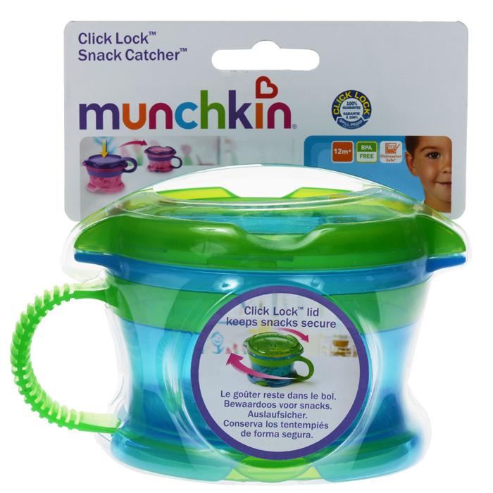Контейнер Munchkin Поймай печенье, с крышкой Click Lock, цвет: голубой, зеленый11400Контейнер с ручками Munchkin Поймай печенье выполнен из безопасного пластика. Он идеально подходит, если нужно покормить малыша на ходу, чтобы закуска осталась в контейнере, а не на полу, не на сиденье автомобиля или коляски! Мягкие силиконовые лепестки-закрылки помогают ребенку подкрепиться самостоятельно, но предотвращают рассыпание содержимого контейнера. Регулируемая крышка позволит малышу вытащить печенья или других продуктов ровно столько, сколько сможет положить в рот за один раз, контейнер не откроется, даже если упадет и перевернется. Мягкие закрылки на крышке позволяют достать печенье или кусочки другой еды, минимально испачкав пальцы.