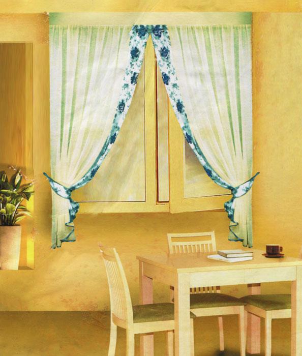 Комплект штор для кухни Zlata Korunka, на ленте, цвет: зеленый, кремовый, высота 170 см. Б078Б078 зеленыйКомплект штор для кухни Zlata Korunka состоит из двух штор и двух подхватов. Штора изготовлена из легкого воздушного полиэстера и представляет собой полупрозрачное полотно кремового цвета с отделкой из полотна белого цвета с цветочным рисунком зеленого цвета. Шторы снабжены двумя подхватами для изящного присборивания. Нежная воздушная текстура, оригинальный дизайн и светлая цветовая гамма привлекут к себе внимание и органично впишутся в интерьер кухни. В шторы вшита шторная лента.