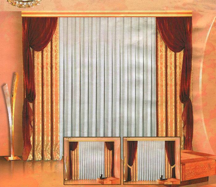 Комплект штор Zlata Korunka, на ленте, цвет: бежевый, шоколадный, высота 250 см. Б013Б013 бежево/шоколадныйРоскошный комплект штор Zlata Korunka состоит из 4 штор, тюли белого цвета и 4 подхватов. 2 шторы бежевого цвета изготовлены из жаккарда, украшены изысканным рисунком. 2 шторы шоколадного цвета и тюль, выполненные из вуалевой ткани, представляют собой полупрозрачные полотна. Шторы снабжены 4 подхватами для изящного присборивания. Оригинальный дизайн и изысканная цветовая гамма привлекут к себе внимание и органично впишутся в интерьер комнаты. Все элементы комплекта оснащены шторной лентой. Характеристики: Материал: 100% полиэстер. Цвет: бежевый, шоколадный. Размер упаковки: 42 см х 30 см х 8 см. Производитель: Польша. Изготовитель: Россия. Артикул: Б013 В комплект входит: Штора - 2 шт. Размер (Ш х В): 140 см х 250 см. Штора - 2 шт. Размер (Ш х В): 140 см х 250 см. Тюль - 1 шт. Размер (Ш х В): 500 см х 250 см. Подхват - 4 шт. Размер (Ш х Д): 0,7 см х 96 см.