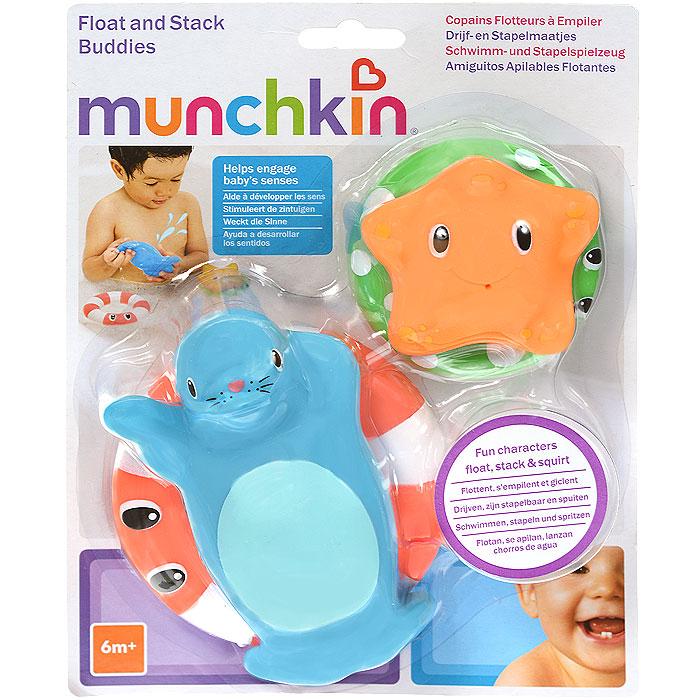 Игровой набор для ванны Munchkin Веселые приятели11414Игровой набор для ванны Munchkin Веселые приятели привлечет внимание ребенка и превратит купание в веселую игру. Набор включает в себя морского котика, морскую звездочку и два спасательных круга. Малыш сможет положить приятелей на спасательные круги или играть отдельно. Если в игрушки сначала набрать воду, а потом нажать на них, то у них изо рта брызнет тонкая струйка воды, что позабавит малыша. Элементы набора выполнены из мягкого, приятного на ощупь материала и прекрасно держатся на воде. Набор для ванны Munchkin Веселые приятели способствует развитию воображения, цветового восприятия, тактильных ощущений и мелкой моторики рук. Характеристики: Рекомендуемый возраст: от 6 месяцев. Длина морского котика: 13 см. Размер звездочки: 7 см х 6,5 см х 2 см. Размер упаковки: 18 см х 22,5 см х 6,5 см. Изготовитель: Китай.