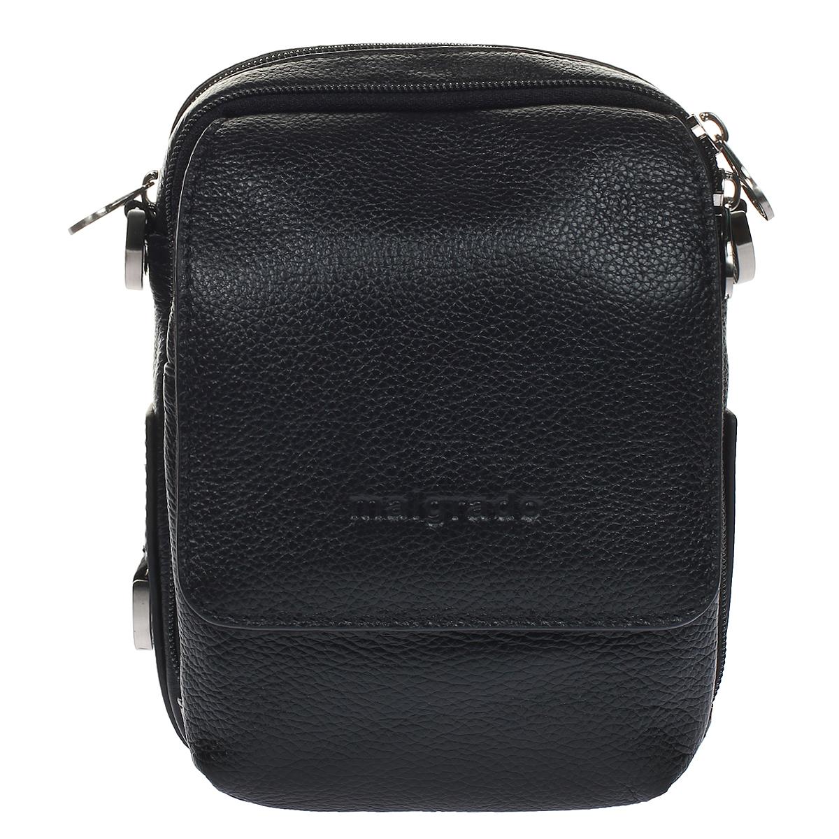 Сумка мужская Malgrado, цвет: черный. BR10-458BR10-458 blackОригинальная мужская сумка Malgrado выполнена из натуральной кожи черного цвета. Сумка имеет два отделения, закрывающиеся на застежку-молнию. В первом отделении имеется открытый кармашек. Во втором - два накладных кармана, одно отделение для пишущих принадлежностей и открытый карман. На передней сторону сумки имеется дополнительный карман, который закрывается на застежку-молнию и клапаном на магнитную кнопку. На задней стороне имеется крепления, с помощью которых можно носит сумку на ремне. В комплекте плечевой текстильный ремень и чехол для хранения.