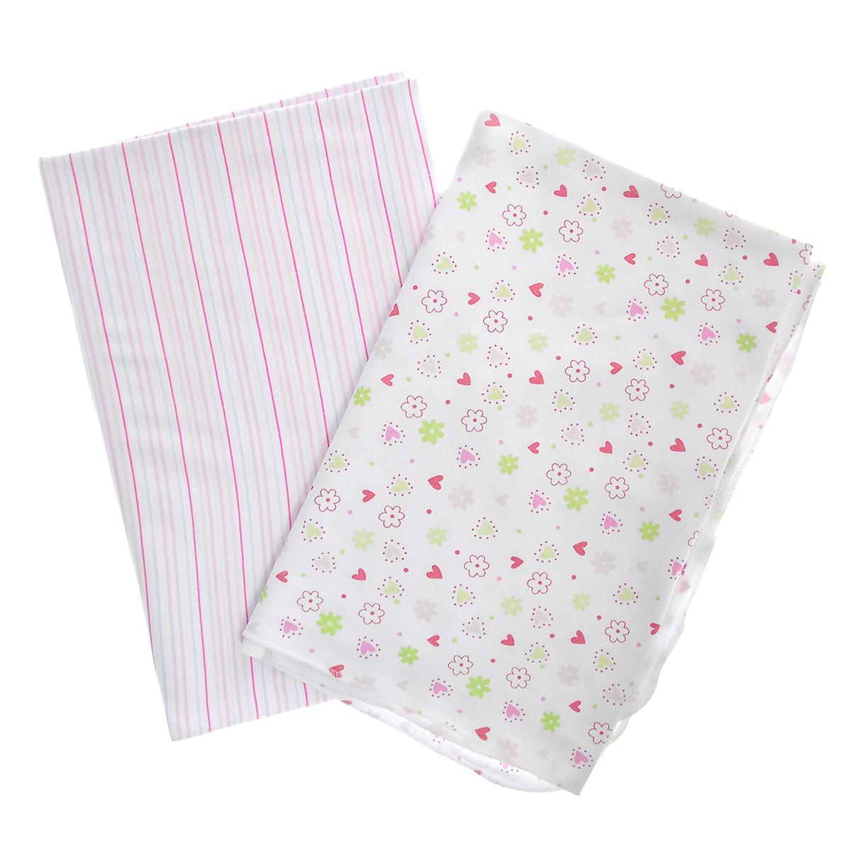 Набор пеленок Spasilk Цветочки, для девочек, цвет: розовый, 76 см х 101 см, 2 штRB SWAD 03Набор пеленок для новорожденной Spasilk Цветочки станет незаменимым помощником в уходе за ребенком. Пеленку также можно использовать как легкое одеяло, простынку, полотенце после купания, солнечный козырек, накидку для кормления грудью или как согревающий компресс при коликах. Пеленки изготовлены из стопроцентного хлопка, благодаря чему они мягкие, приятные на ощупь и абсолютно безопасны для малыша. В набор входят две пеленки: в голубую, розовую и лиловую полоски и оформленная изображениями цветочков и сердечек.