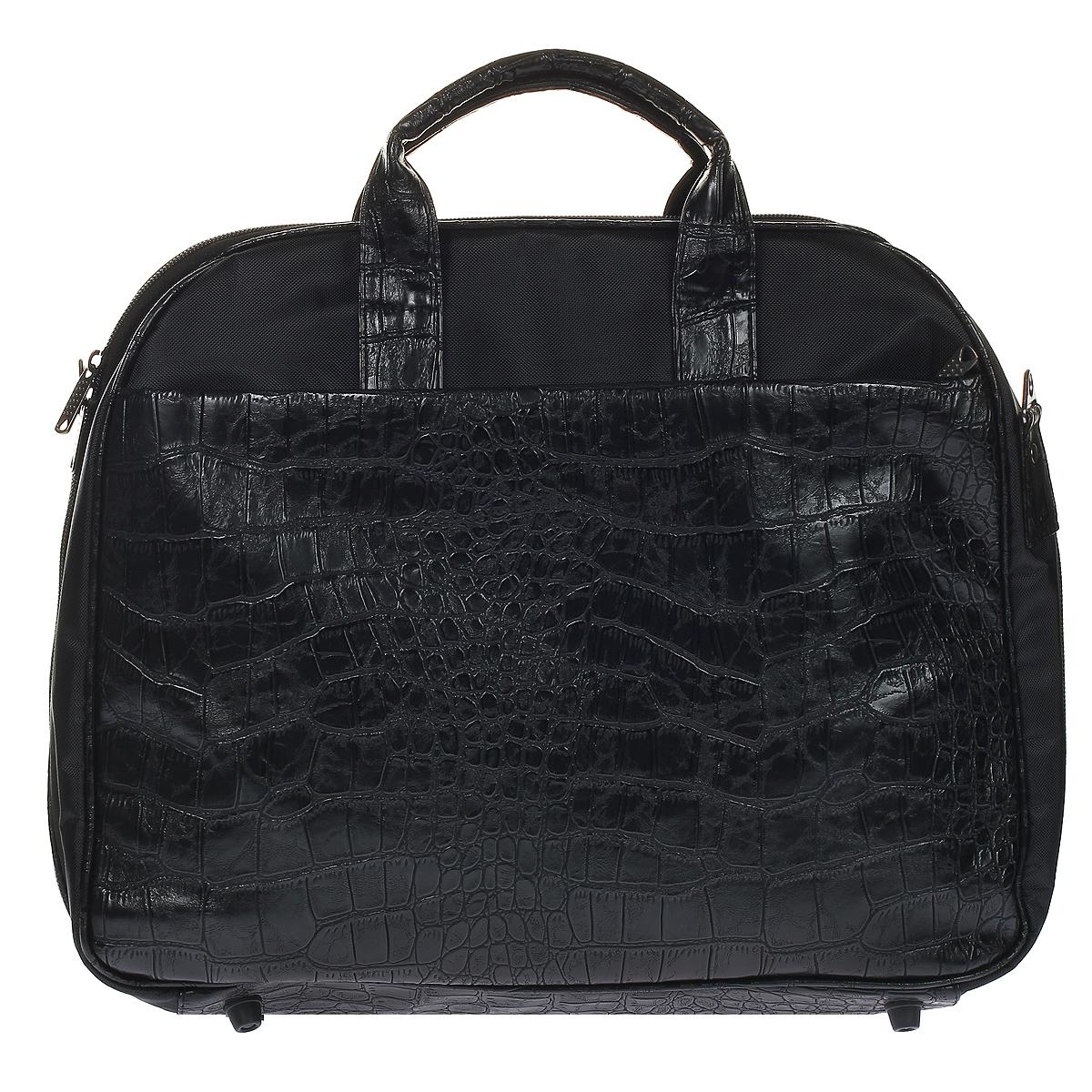 Сумка дорожная Antan, цвет: черный. 3-52 В3-52 В полиэстер+иск кожа крокодил/черныйДорожная вместительная сумка Antan выполнена из искусственной кожи и полиэстера черного цвета. Сумка состоит из одного главного отделения, закрывающегося на застежку-молнию. Внутри - вшитый карман на застежке-молнии и три нашивных кармашка. На задней и передней сторонах сумки расположены карманы на молнии. Боковые стороны сумки крепятся между собой с помощью липучки, что позволяет раскрыть сумку полностью. Сумка оснащена двумя удобными ручками и съемным плечевым ремнем регулируемой длины. Дно сумки оснащено пластмассовыми ножками для лучшей устойчивости. Такая сумка - незаменимый аксессуар для путешествия.