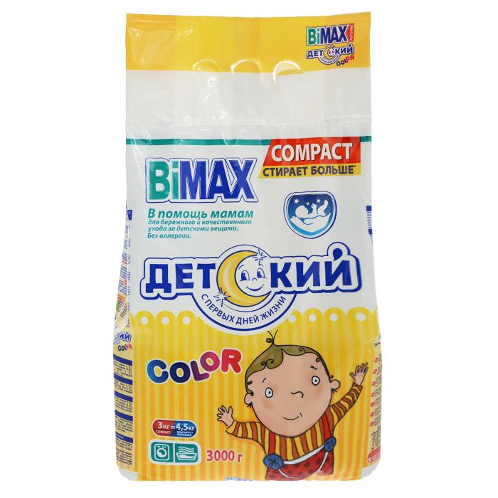 Стиральный порошок BiMax Детский. Color, 3 кг552-1Стиральный порошок BiMax Детский. Color предназначен для замачивания и стирки белья детей, в том числе новорожденных. Подходит для цветных хлопчатобумажных, льняных, синтетических тканей, а также тканей из смешанных волокон. Не предназначен для стирки изделий из шерсти и натурального шелка. Порошок имеет пониженное пенообразование, содержит биодобавки. BiMax эффективно справляется с пятнами на одежде ваших малышей, предназначен для стирки детский вещей из ярких цветных и темных тканей. Не вызывает аллергии. Рекомендовано к использованию с первых дней жизни. Кроме того, порошок экономит ваши средства: 3 кг BiMax заменяют 4,5 кг обычного порошка. Подходит для стиральных машин любого типа и ручной стирки.