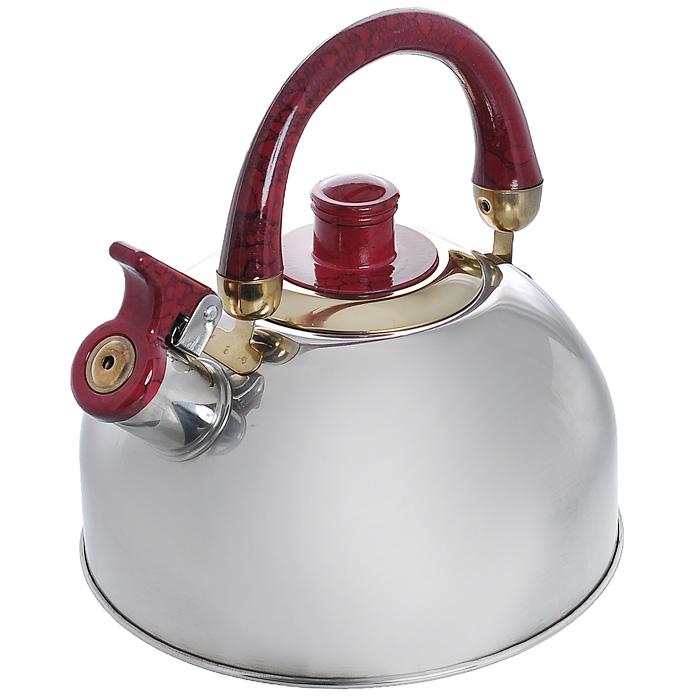 Чайник Mayer & Boch со свистком, цвет: красный, 1,6 л. MN1622MN1622_красныйЧайник Mayer & Boch изготовлен из высококачественной нержавеющей стали. Гладкая и ровная поверхность существенно облегчает уход. Чайник оснащен удобной бакелитовой ручкой, которая не нагревается даже при продолжительном периоде нагрева воды. Носик чайника имеет насадку-свисток, что позволит вам контролировать процесс подогрева или кипячения воды. Выполненный из качественных материалов чайник Mayer & Boch при кипячении сохраняет все полезные свойства воды. Чайник можно использовать на всех видах плит, кроме индукционных.