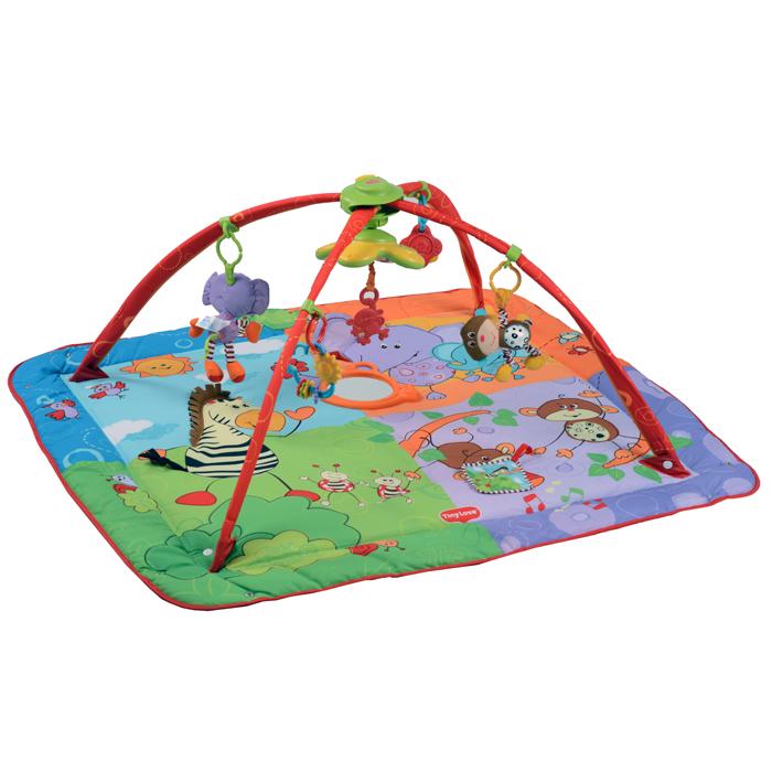 Развивающий коврик Tiny Love Разноцветное сафари1201806830Инновационный коврик Tiny Love Разноцветное Сафари - это первый развивающий коврик с подвижными креплениями для игрушек к дугам коврика. Теперь игрушки можно легко передвигать по дуге, чтобы они всегда были в пределах досягаемости вашего малыша! Это более универсально, более комфортно и наиболее удобно для развития ребенка. Особенности: Коврик имеет трехмерно-пространственную форму с округлыми пересекающимися арками, а бортики коврика можно поднять и закрепить при помощи кнопок. Эффект арок помогает расслабиться крохе, обеспечивая визуально безопасное пространство - это напоминает малышу о пребывании в уютном мамином животе. В игровой комплекс входят: Веселая электронная светомузыкальная игрушка с 7-ю мелодиями Дребезжащий слоненок Погремушка Солнышко и облачко Мягкаяая погремушка-обезьянка Разноцветная игрушка-прорезыватель Зебра с трехмерной гривой и хвостиком Прорезыватель-обезьянка ...