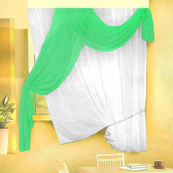 Комплект штор для кухни Zlata Korunka, на ленте, цвет: белый, салатовый, высота 170 см. Б066Б066 салатовыйКомплект штор Zlata Korunka, изготовленные из легкого полиэстера, станут великолепным украшением кухонного окна. В набор входит тюль белого цвета и ламбрекен салатового цвета. Для более изящного расположения тюля на окне прилагается подхват. Все элементы комплекта на шторной ленте для собирания в сборки. Оригинальный дизайн и приятная цветовая гамма привлекут к себе внимание и органично впишутся в интерьер. Характеристики: Материал: 100% полиэстер. Цвет: белый, салатовый. Размер упаковки: 34 см х 28 см х 3 см. Производитель: Польша. Изготовитель: Россия. Артикул: Б066. В комплект входит: Тюль - 1 шт. Размер (Ш х В): 290 см х 170 см. Ламбрекен - 1 шт. Размер (Ш х В): 90 см х 170 см.